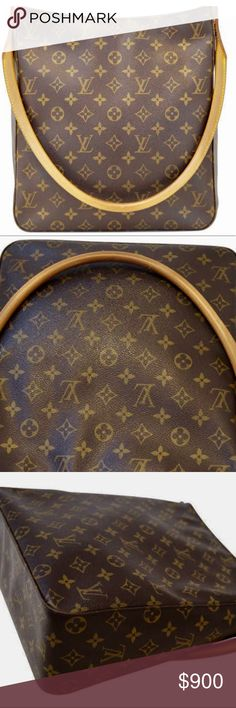 "Authentic Louis Vuitton Monogram Looping GM Bag The Louis Vuitton Monogram Canvas Looping GM Bag has a unique and modern structure which is perfect for day or night. It is the largest-sized member of the Looping family which all have the padded natural leather swiveling arc handle. Details:  Vintage  Designer: Louis Vuitton Series: Looping GM Retail: $2100 Style: Shoulder bag Material: Monogram Color: Brown Origin: France Production Year: 2001 Date/Authenticity Code: DU0061 Measurements: 11""…"