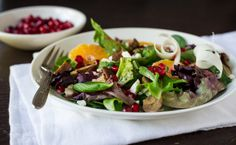 Chestnut salad with pomegranate seeds. I'd have to substitute the gorgonzola for goat cheese. Pomegranate Seeds, Goat Cheese, Homemaking, Entrees, Salads, Soup, Dressing, Menu, Healthy