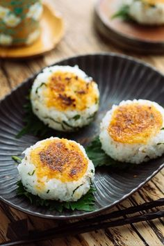 Sweet, savory miso sauce slathered on warm, fluffy rice balls, this Miso Yaki Onigiri (Japanese grilled rice balls) is perfect for a summer picnic, afternoon snack for your children, or midnight treat for yourself! #JapaneseFood #Washoku #snackideas #savorysnacks #riceballs #onigiri #misorecipes | Easy Japanese Recipes at JustOneCookbook.com Easy Japanese Recipes, Asian Recipes, Vegan Japanese Food, Japanese Rice, Japanese Desserts, Savory Snacks, Healthy Snacks, Healthy Recipes, Yummy Recipes
