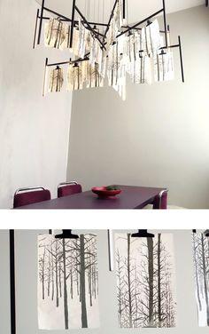 lichtconcept en hanglamp KrOOn Office met zeefdrukken van Dorine Camps