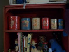 vintage tin stacking toys, home made from vintage juice cans