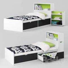 3d models: Bed - IKEA FLAXA (bed + headboard)