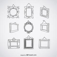 Deco vintage frames set Free Vector