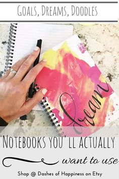 Dare to dream with this spiral notebook.Track your goals, make your bucket list, or journal all of your thoughts and feelings- and do it with style. This journal features original artwork and lettering that you won't find anywhere else.It's the perfect size to stash in your purse to record that perfect idea on the go, and pretty enough to keep next to your bed for middle of the night inspiration (or to record and analyze your actual dreams!)