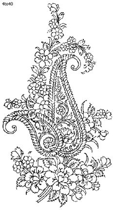 Indian Saree - Textile Patterns & Embroidery Designs 10 - Paisley and Roses Zardozi Embroidery, Embroidery Motifs, Learn Embroidery, Tangle Patterns, Textile Patterns, New Embroidery Designs, Stencil Printing, Paisley, Indian Patterns