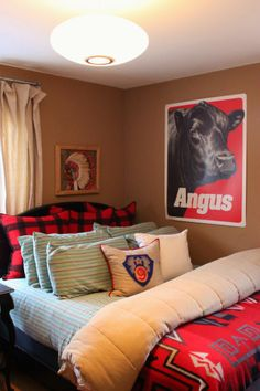 Guest Room with Crewel Work Indian Chief and Angus Poster Over the Bed Barn Bedrooms, Western Bedrooms, Guest Room Decor, Bedroom Decor, Bedroom Ideas, Guest Rooms, Dream Bedroom, Girls Bedroom, Master Bedroom