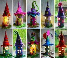 herbstbasteln mit kindern herbstdeko selber machen basteln mit klopapierrollen hexenhaus #LampSelbstgemacht