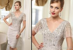 Wholesale Evening Gowns - Buy New Arrival Mother of the Bride Dresses Fashion Designs Sequins Beading Sheath V Neck Knee Length Short Sleeve Evening Gowns With Jacket, $147.94 | DHgate