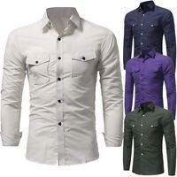 Luxury Mens Long Sleeve Casual Slim Fit T-Shirt Blouse Tops Formal Dress Shirts | eBay