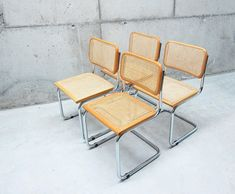 4 vintage Cesca chairs by Marcel Brewer / Made in Italy / Hand woven cane, cantilever and beech / Modernist style/ Bauhaus/ Loft/ Dining Outdoor Chairs, Dining Chairs, Outdoor Furniture, Outdoor Decor, Vintage Chairs, Chrome Plating, Marcel, Bauhaus, Hand Weaving
