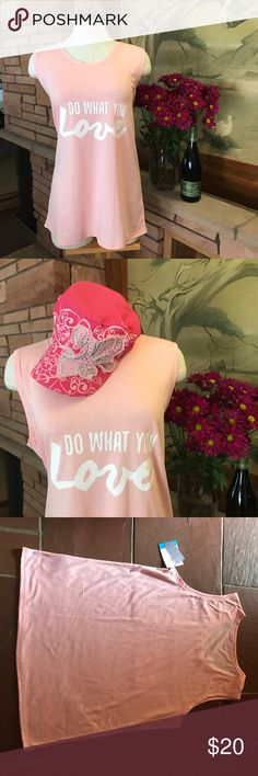 """🍇 Do what you love! Very cute and brand new pink tank with a great message (the large size is displayed). 🍇 Measurements... Large: armpit-to-armpit 21 1/4"""", length from the base of the neck to hem: 28 1/2"""". XLarge: armpit-to-armpit 23"""", length from the base of the neck to hem: 28 5/8"""" 🍇 From a smoke-free and bundle-happy home. [N48/49] Everlast Tops Tank Tops"""