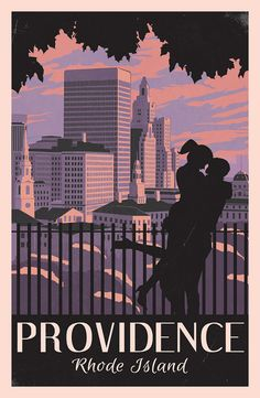 Providence Rhode Island Retro styled Travel Poster by drewfurtado