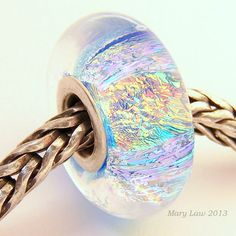 Fire Sparkle Dichroic Bead for Pandora, Troll Bracelet ML SRA Lampwork Murano Glass European Charm. $38.00, via Etsy.