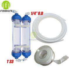 물 필터 2 개 T33 카트리지 하우징 DIY T33 쉘 필터 병 4 개 피팅 정수기 역삼 투 시스템