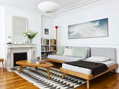STYLE LOGISTICS: 10 DREAMY ROOMS: Scandinavian Interior Design neat way to do a guest room that's also a living space.