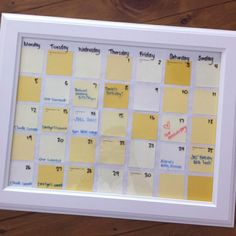 picture frame + post it notes + dry erase marker = easy calendar