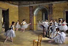 O Foyer do Balé na Ópera da Rue Le Peletier em 1872 - Edgard Degas - Musée d'Orsay, Paris    A Ópera da rue Le Peletier e do Palais Garnier, foram um dos locais mais populares de Paris.    Uma verdadeira instituição, local de reuniões especiais entre assinantes e dançarinas, o Foyer da dança atingiu seu pleno desenvolvimento nas décadas 1820-1880.