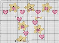 Twinkle twinkle little stars. Cross Stitch Boarders, Cross Stitch For Kids, Cross Stitch Heart, Cross Stitching, Cross Stitch Embroidery, Embroidery Patterns, Cross Stitch Patterns, Baby Motiv, Plastic Canvas Patterns