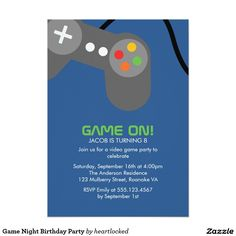 Video games birthday party invitation card teen birthday parties game night birthday party card video game partygame nightinvitation stopboris Images