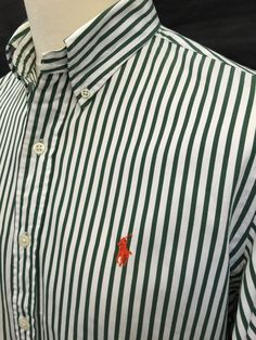 £35 Polo #RalphLauren #Mens #Shirt Medium Custom Fit Green White Bengal #Striped Cotton #menswear #mensfashion #mensstyle
