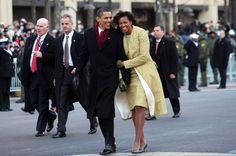 President Obama & First Lady Michelle, Pennsylvania Ave, Washington DC. Jan 2009.