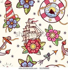 Old school tattoos seamless pattern with lifebuoy, lighthouse, ship, rope,  flowers, arrows and anchor. Tradition tattoo ink design.  #tattooart #tattoo #oldschool