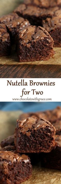Brownies for Two Rich, fudgy Nutella Brownies for two people. A small batch of dessert for when you don't want leftovers hanging around.Rich, fudgy Nutella Brownies for two people. A small batch of dessert for when you don't want leftovers hanging around. Single Serve Desserts, Easy Desserts, Delicious Desserts, Dessert Recipes, Yummy Food, Nutella Brownies, Brownie Cheesecake, Fudgy Brownies, Nutella Recipes
