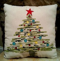Christmas Tree Pillows, Accent Pillows, Indoor/Outdoor Pillows, Holiday Pillows, Hand-painted, Pillow Cover, No. 131
