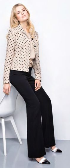 "Riani Blazer ""Dots beige/schwarz"" Blazer, Dots, Beige, Blouse, Long Sleeve, Sleeves, Women, Fashion, Jackets"