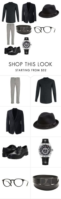 """Conferenza"" by outfit-men ❤ liked on Polyvore featuring Topman, Lands' End, Block Headwear, Dr. Martens, Rolex, Oliver Peoples, Versace, men's fashion and menswear"