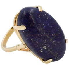 Preowned Gold Lapis Lazuli Ring ($517) ❤ liked on Polyvore featuring jewelry, rings, fashion rings, multiple, 14k yellow gold ring, 14k ring, golden ring, oval rings and cocktail rings
