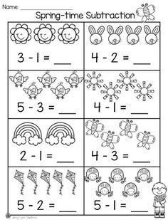 Spring Math & Literacy Packet Practice subtraction with picture support! Math Addition Worksheets, Subtraction Worksheets, Kindergarten Math Worksheets, Math Literacy, In Kindergarten, Math Activities, Subtraction Kindergarten, Math For Kids, 3d Printing