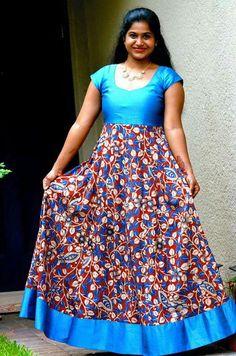 Dress to be stitched Sari Blouse Designs, Dress Neck Designs, Kurti Neck Designs, Kurta Designs Women, Kurti Designs Party Wear, Lehenga Designs, Kalamkari Designs, Girls Frock Design, Long Dress Design