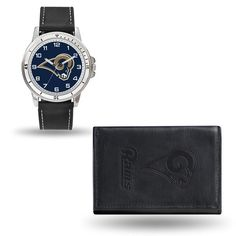 NFL St Louis Rams Black Leather Mens Watch & Wallet Set (830 ARS) ❤ liked on Polyvore featuring men's fashion, men's bags, men's wallets, mens leather wallets and mens wallets