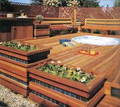 Cedar hot tub deck with planters and benches