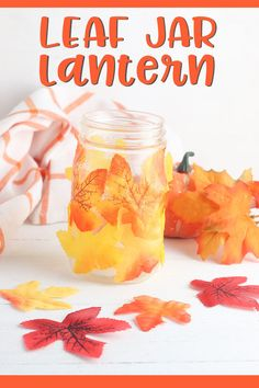 Create a beautiful leaf mason jar lantern in a few simple steps. This beautiful craft can be done using real or faux leaves. #diy #masonjarcrafts #tutorial #naturecrafts #autumncrafting Craft Projects For Kids, Easy Crafts For Kids, Diy For Kids, Craft Ideas, Toddler Crafts, Mason Jar Lanterns, Mason Jar Lighting, Mason Jars, Lantern Crafts