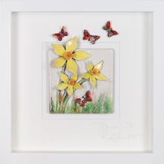 Dream Daffodils - happy, bright, yellow daffodils with beautiful metallic butterflies. A little feeling of spring all year round! Love Painting, Daffodils, Butterfly, Ocean, Paintings, Sculpture, Spring, Frame, Inspiration