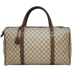 Preowned 1970s Gucci Monogram Duffle Weekender Bag ($1,100) ❤ liked on Polyvore featuring bags, luggage, brown and duffel bags
