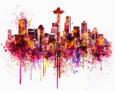 Seattle Skyline Silhouette Watercolor painting City art Seattle poster City…