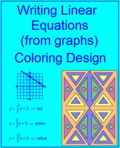 This is a coloring activity for a set of 10 problems on writing linear equations in slope-intercept form from a graph.This is FREE in the Slope Activities Bundle.Posted: 11/03/16 so 50% off through 11/6/16There are over 160 coloring activities to choose from.