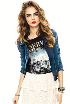 Cara-Delevingne. Graphic tee paired with skirt and denim jacket