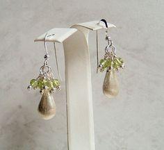 Peridot Earrings Green Earrings Teardrop by DKDanglesJewelry