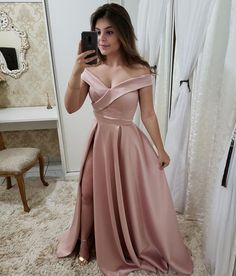 Simple Pink Satin Side Slit Prom Dress Custom Made Off Shoulder School Dance Dresses Fahion Long Evening Party Dresses Tulle Prom Dress, Homecoming Dresses, Party Dress, Bridesmaid Dresses, School Dance Dresses, Cute Dresses, Formal Dresses, The Dress, Ball Gowns