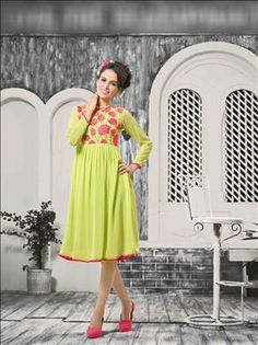 Let your persona be the most glamarous and stylish among the crowd. Beautiful Light Green color kurti only at xeroshop.com