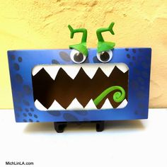 monster box from tissue box upcycle