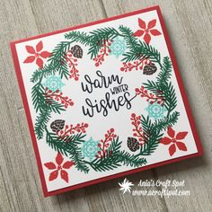 3 cards with the Christmas Wreath Builder Stamp Set by Gina K Designs Christmas Cards 2018, Homemade Christmas Cards, Handmade Christmas, Homemade Cards, Holiday Cards, Christmas Design, Christmas 2017, Xmas Cards, Diy Cards