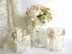 3 piece lace covered mason jars with adorable lace flowers 1 vase and 2 candle holder, wedding decor gift or for you NEW via Etsy