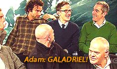 """(Gif) """"Adam, what's the name of Gandalf's sword?""""  I just LOVE all their faces when Adam answers :D"""