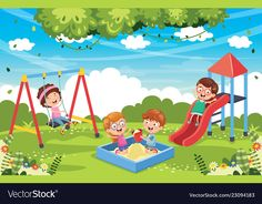 Of children at park Royalty Free Vector Image - VectorStock School Painting, Painting For Kids, Art Drawings For Kids, Drawing For Kids, Kids Vector, Vector Free, Student Cartoon, Scrapbook Cover, Kids Room Murals