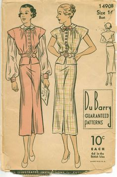 1930's Sewing Pattern - Fitted Peplum Dress with Bishop Sleeves - DUBARRY 1490B via She''ll make you flip!
